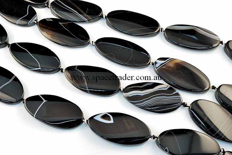Agate - 25x50mm Oval Black Banded Agate Bead in 8 Pcs a Strand