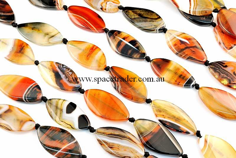 Agate - 22x40mm Marquise Dream Agate Bead in 9 Pcs a Strand