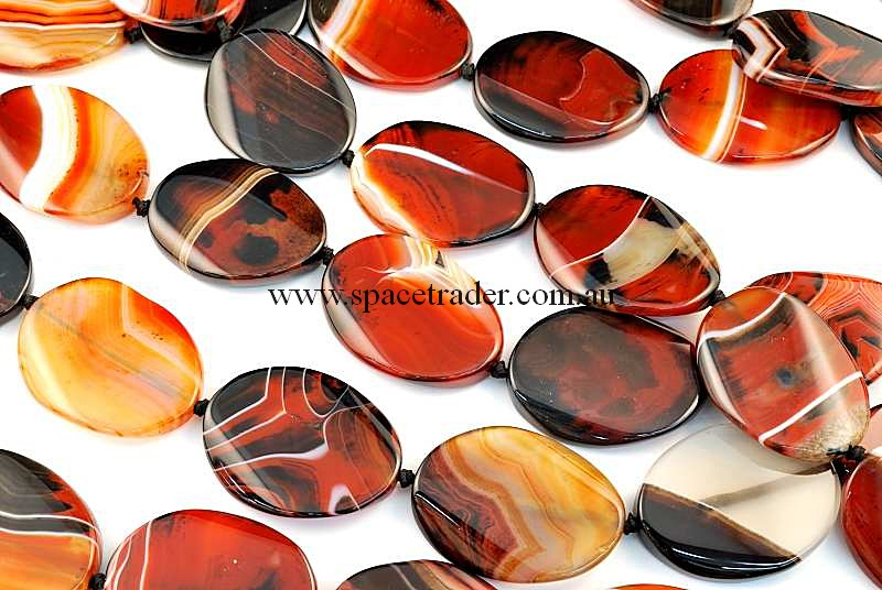 Agate - 32x42mm Oval Dream Agate Bead in 9 Pcs a Strand