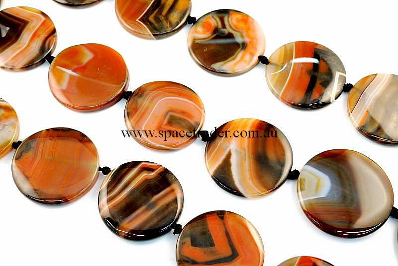 Agate - 38mm Circle Dream Agate Bead in 9 Pcs a Strand