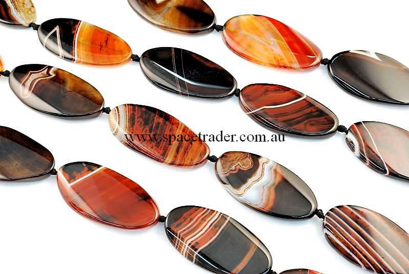 Agate - 24x50mm Oval Dream Agate Bead in 8 Pcs a Strand