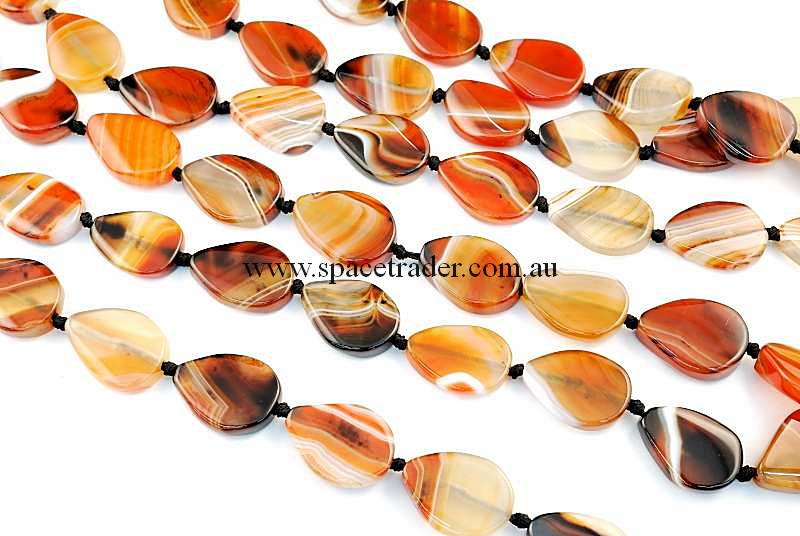 Agate - 20x25mm Teardrop Dream Agate Bead in 15 Pcs a Strand
