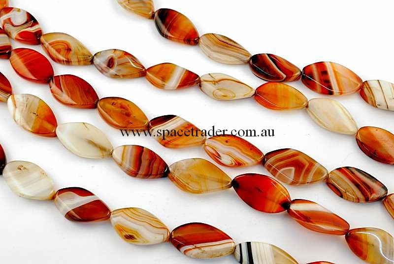 Agate - 18x28mm Marquise Dream Agate Bead in 14 Pcs a Strand