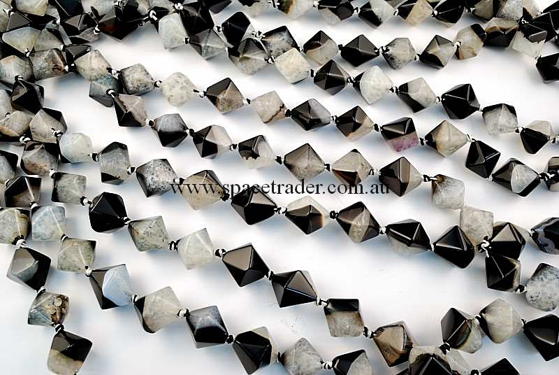 Agate - 16x16mm Faceted Bicone Black Banded Agate with Inclusion Bead in 20 Pcs a Strand