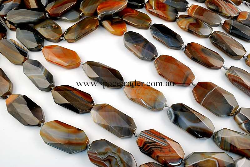 Agate - 22x42mm Faceted Oct-Rectangle New Botswana Agate in 9 Pcs a Strand