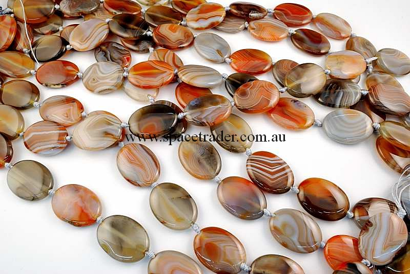 Agate - 20x30mm Puffed Oval New Botswana Agate in 12 Pcs a Strand