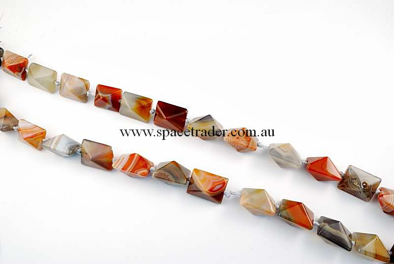 Agate - 16x20mm Rectangle-Pyramid New Botswana Agate in 17 Pcs a Strand
