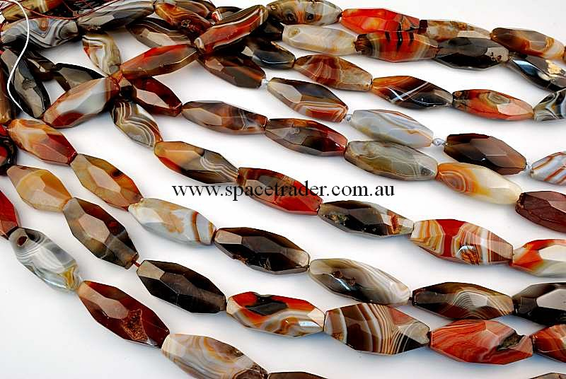 Agate - 15x40mm Faceted Long Octagon New Botswana Agate in 9 Pcs a Strand