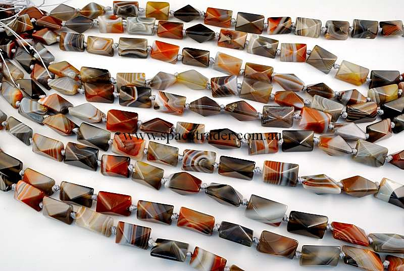 Agate - 13x18mm Rectangle-Pyramid New Botswana Agate in 18 Pcs a Strand