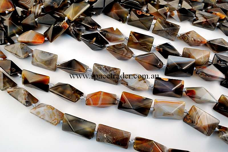 Agate - 19x30mm Rectangle-Pyramid New Botswana Agate in 12 Pcs a Strand