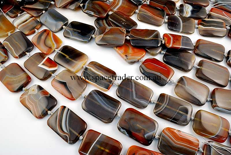 Agate - 26x35mm Rectangle New Botswana Agate in 10 Pcs a Strand