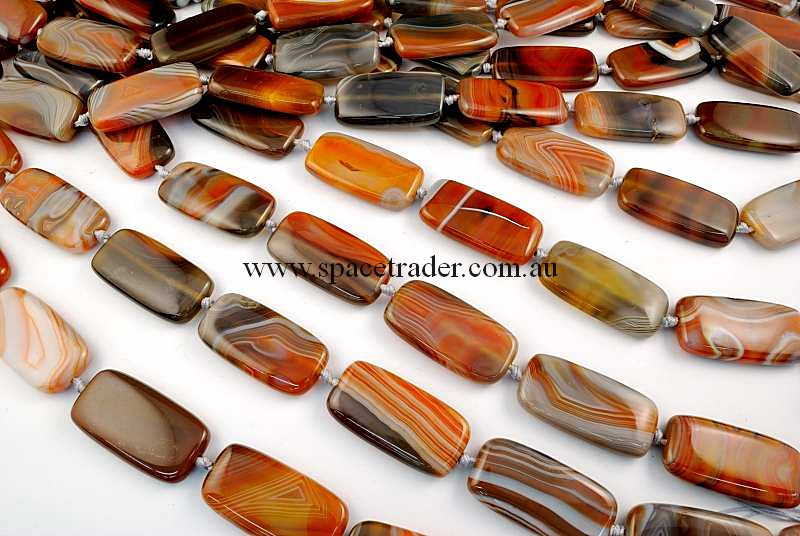Agate - 20x40mm Rectangle New Botswana Agate in 9 Pcs a Strand