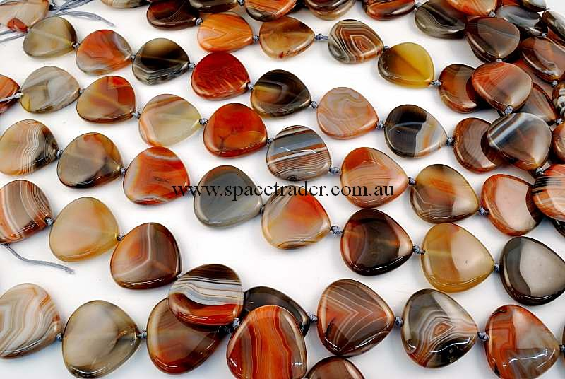 Agate - 30x30mm Pear New Botswana Agate in 12 Pcs a Strand