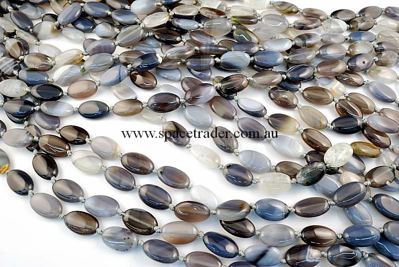 Agate - 12x20mm Oval Grey Banded Agate in 18 Pcs a Strand