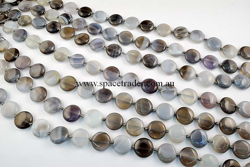 Agate - 16mm Puffed Circle Grey Banded Agate in 22 Pcs a Strand