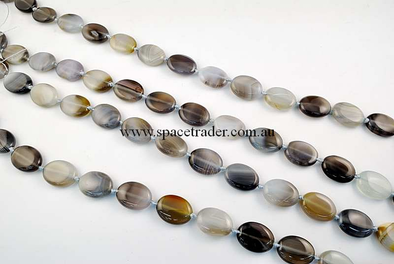 Agate - 15x20mm Puffed Oval Grey Banded Agate in 18 Pcs a Strand
