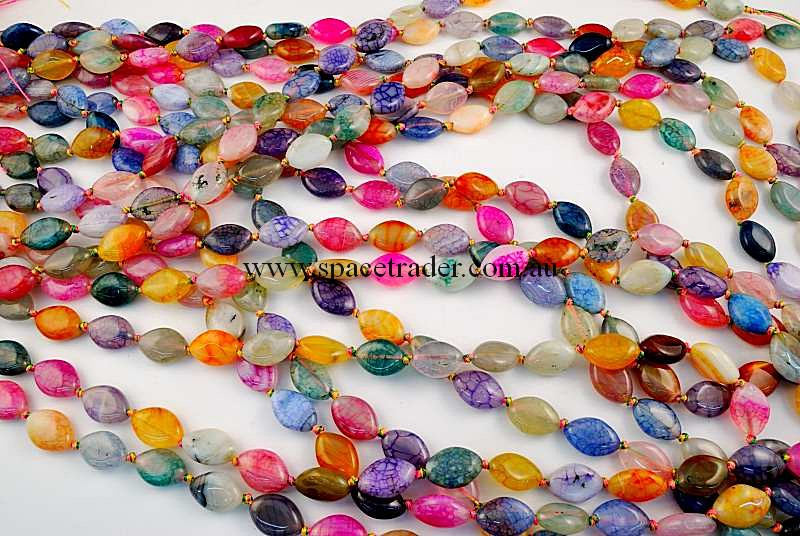 Agate - 10x15mm Marquise Mixed Colour Crackle Agate in 25 Pcs a Strand