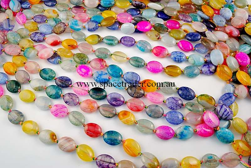 Agate - 12x16mm Oval Mixed Colour Crackle Agate in 22 Pcs a Strand