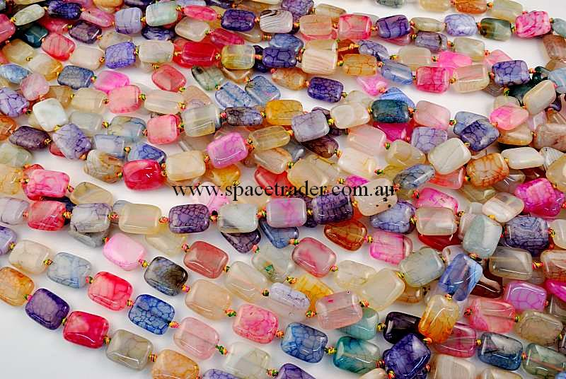 Agate - 12x16mm Rectangle Mixed Colour Crackle Agate in 22 Pcs a Strand