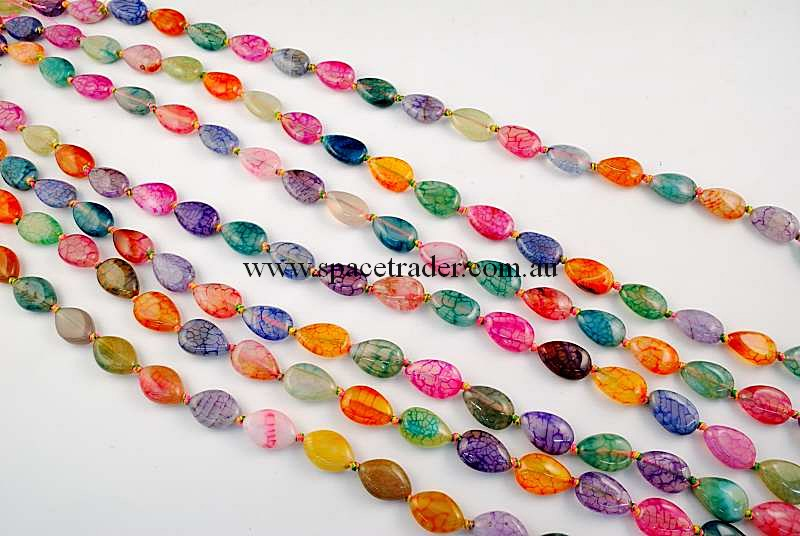 Agate - 10x15mm Teardrop Mixed Colour Crackle Agate in 24 Pcs a Strand