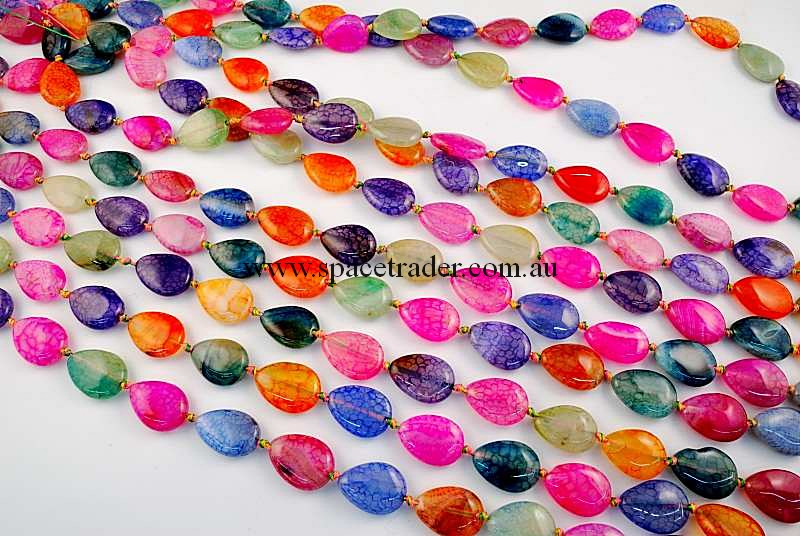 Agate - 13x18mm Teardrop Mixed Colour Crackle Agate in 20 Pcs a Strand