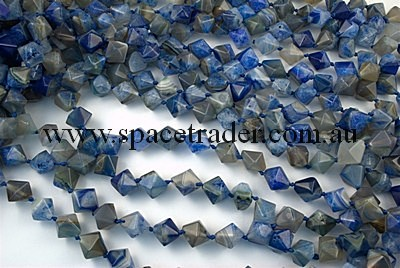 Agate - 14mm Faceted Bicone Grey Agate in Dye Blue Colour in 25 Pcs a Strand