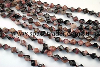 Agate - 12x14mm Irreuglar Faceted Bicone Black Agate with inclusion in Dye Pink Colour in 23 Pcs a Strand