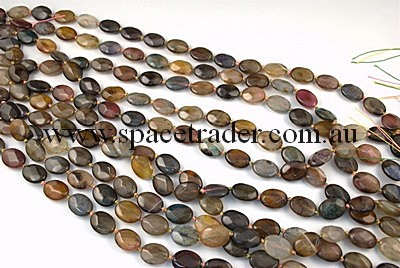 Agate - 12x16mm Faceted Oval Multi-colour Crackle Agate in Dye Colour in 22 Pcs a Strand