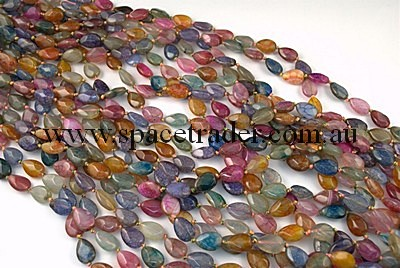 Agate - 10x14mm Faceted Teardrop Multi-colour Crackle Agate in Dye Colour in 24 Pcs a Strand