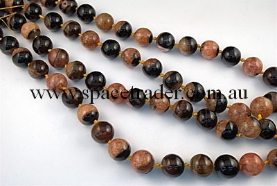 Agate - 18mm Plain Round Black Agate with Inclusion in Dye Orange Colour in 20 Pcs a Strand