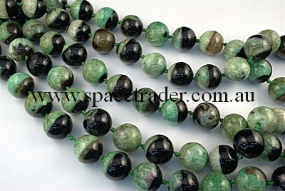 Agate - 22mm Plain Round Black Agate with Inclusion in Dye Light Green Colour in 16 Pcs a Strand
