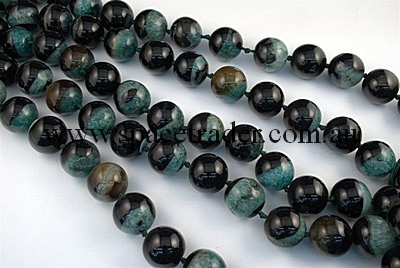 Agate - 22mm Plain Round Black Agate with Inclusion in Dye Green Colour in 16 Pcs a Strand