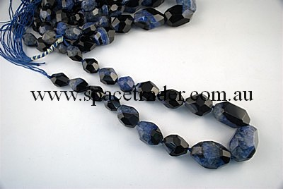 Agate - 14x20mmx8, 20x27mmx6, 23x34mmx3 Faceted Nugget Black Agate with Inclusion in Dye Blue Colour in 17 Pcs a Strand