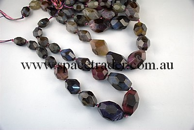 Agate - 14x20mmx8, 20x27mmx6, 23x34mmx3 Faceted Nugget Multi-colour Agate in 17 Pcs a Strand