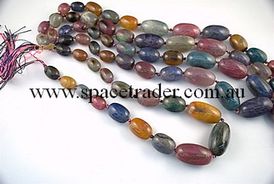Agate - 14x20mmx8, 18x24mmx6, 20x35mmx3 Round Oval Multi-colour Crackle Agate in 17 Pcs a Strand