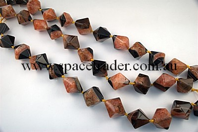 Agate - 25x30mm Irregular Faceted Bicone Black Agate with Inclusion in Dye Orange Colour in 12 Pcs a Strand