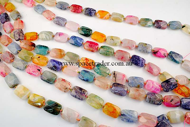 Agate - 13x16mm Rectangle Mixed Colour Crackle Agate in 22 Pcs a Strand