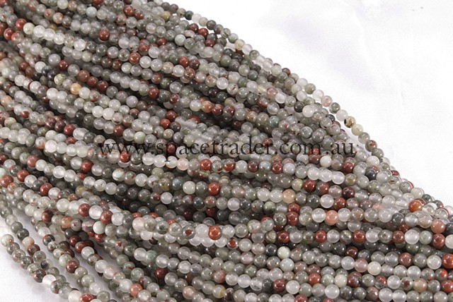 04mm Plain Round Africa Blood Stone Bead - 40cm strands