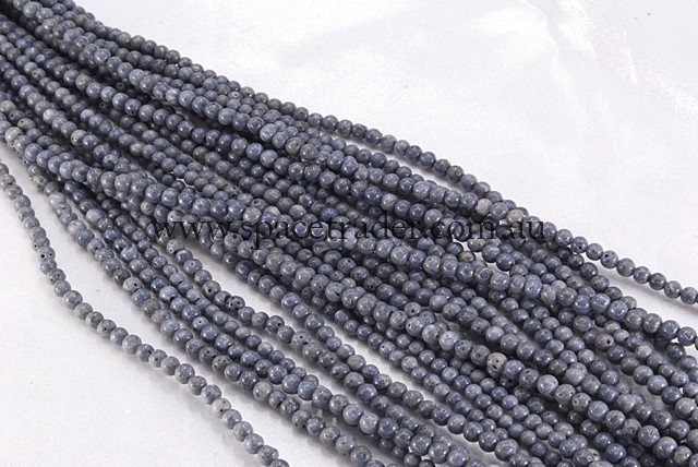 08mm Plain Round Blue Coral Bead - 40cm strands