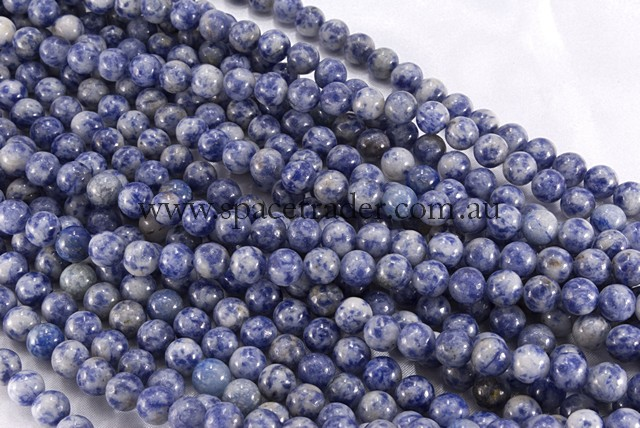 04mm Plain Round Blue Spot Bead - 40cm strands