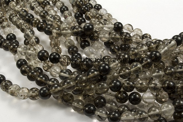 04mm Plain Round Black Melon Quartz Bead - 40cm strands