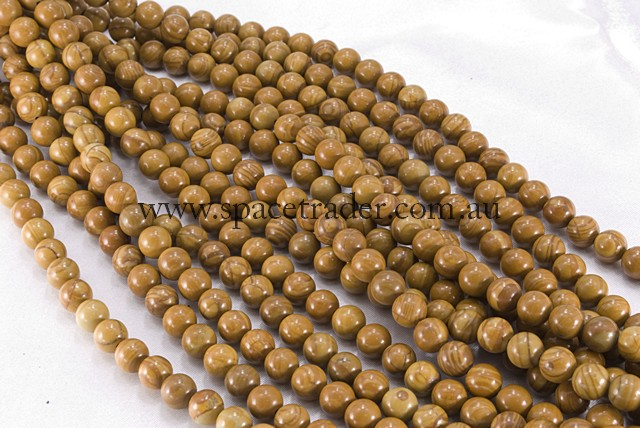 04mm Plain Round Brown Wood Jasper Bead - 40cm strands
