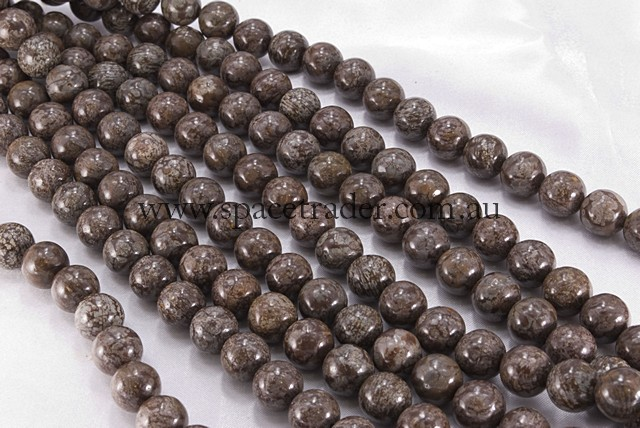 04mm Plain Round Brown Snow Flake Obsidian Bead - 40cm strands