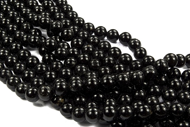08mm Plain Round Black Tourmaline Bead - 40cm strands