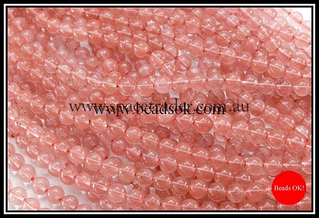 08mm Plain Round Cherry Quartz Bead - 40cm strands