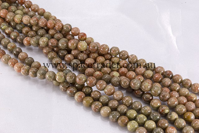 04mm Plain Round Chinese Unakite Bead - 40cm strands
