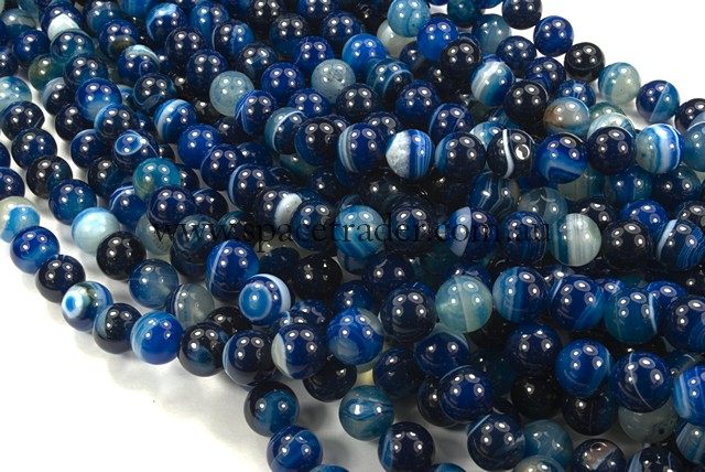 06mm Plain Round Banded Dark Orchid Agate Bead - 40cm strands