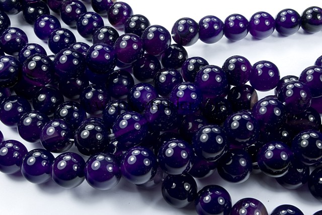 04mm Plain Round Dark Purple Agate Bead - 40cm strands