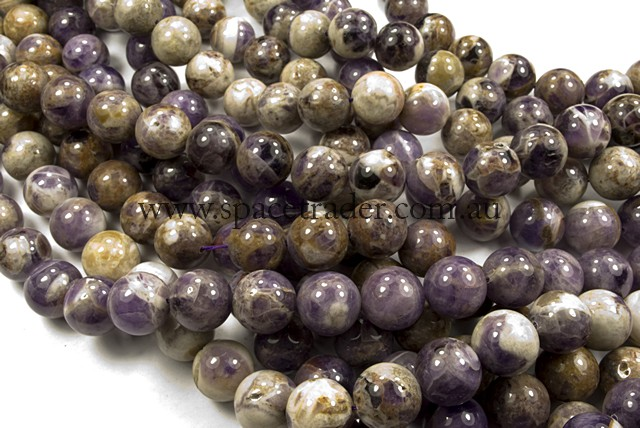 04mm Plain Round Flower Amethyst Bead - 40cm strands