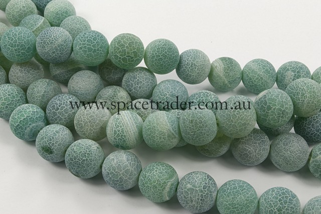 04mm Plain Round Frosted Fire Green Agate Bead - 40cm strands